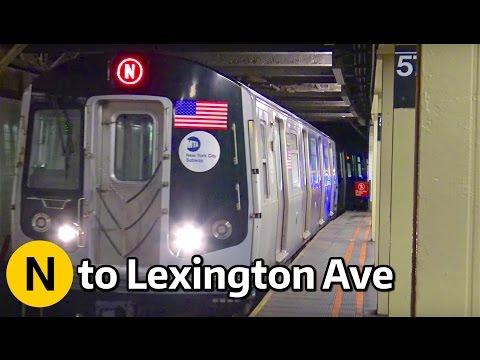 ⁴ᴷ N trains to Lexington Avenue - 59th Street Action