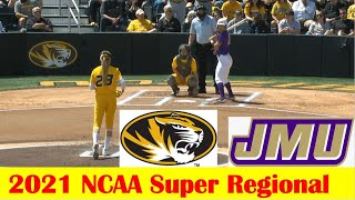 James Madison vs #8 Missouri Softball Game Highlights, 2021 NCAA Super Regional Game 3