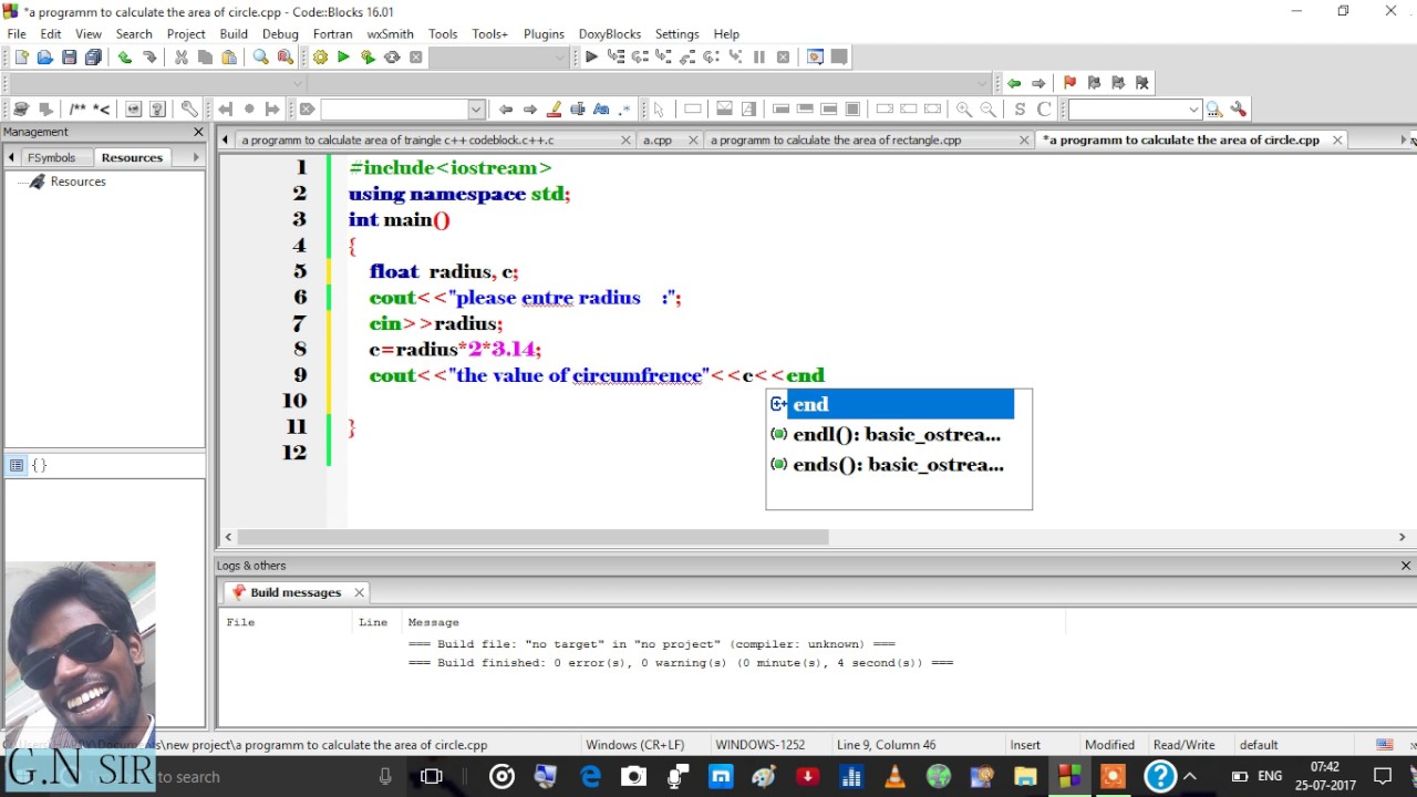a programm to calculate the area of circle c++ code block mp4