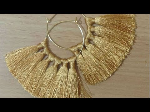 DIY Silk thread Tassel earring