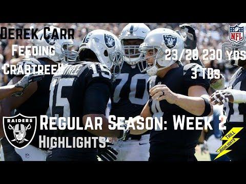 Derek Carr Week 2 Regular Season Highlights Crabtree!! | 9/17/2017