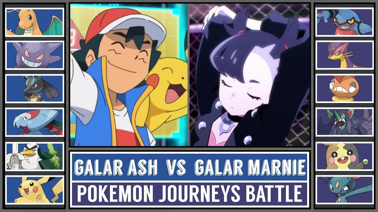 GALAR ASH vs GALAR MARNIE   Pokémon Journeys Battle
