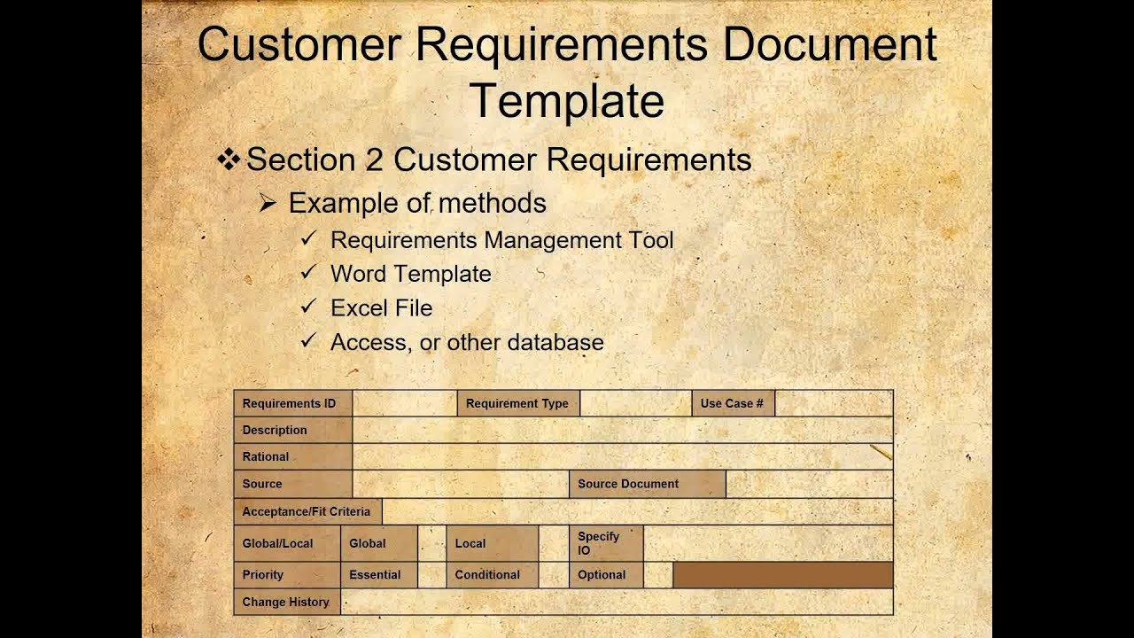 Customer Requirements Document Template YouTube - Requirements document template