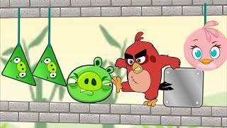 Angry Birds Pigs Out vs Angry Birds Kick Piggies - STELLA HELP RED KICK AND THROW OUT TRIANGLE PIGS!