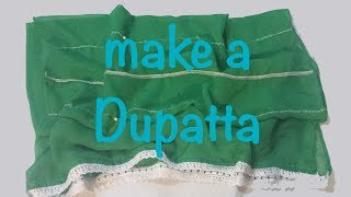 ♥ How to make a Dupatta with only 1 mt of fabric ♥