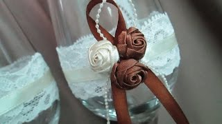 Свадебные фужеры. Идеи как украсить своими руками. Wedding glasses. Ideas for wedding
