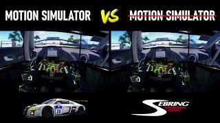 2DOF Motion Simulator VS. Static Simulator [Onboard Triple Screen Setup] Sebring @ Audi R8 LMS GT3