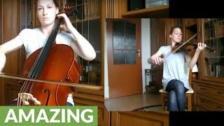 One-person 'Requiem For A Dream' violin & cello cover