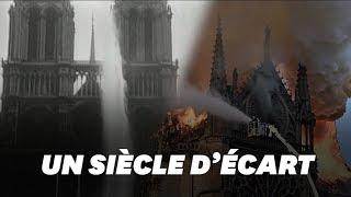 Notre-Dame de Paris arrosée par les lances à incendie un siècle auparavant
