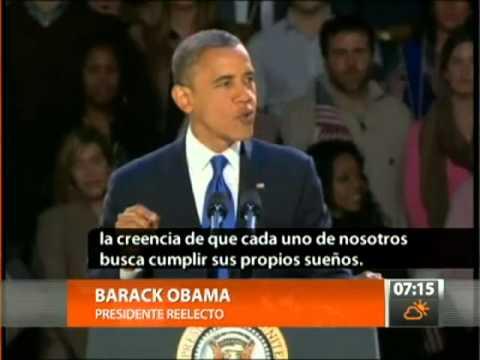 Barack Obama es reelecto como Presidente - CANAL 13 2012