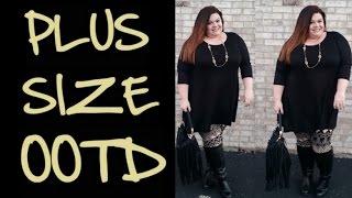 Casual Plus Size OOTD: Black Top & Printed Leggings Thumbnail