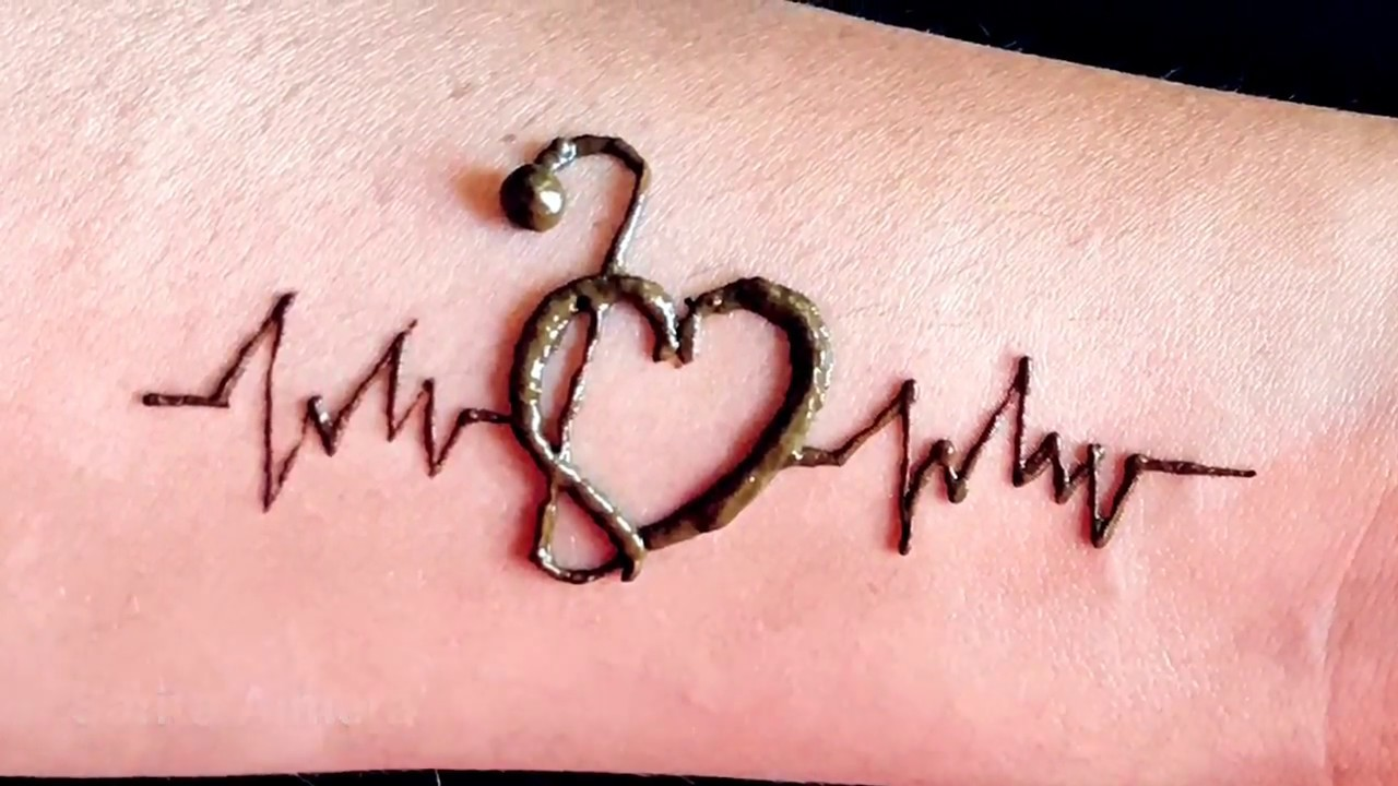 Diy Heart With Lifeline Henna Tattoo Design For Hand For Beginners