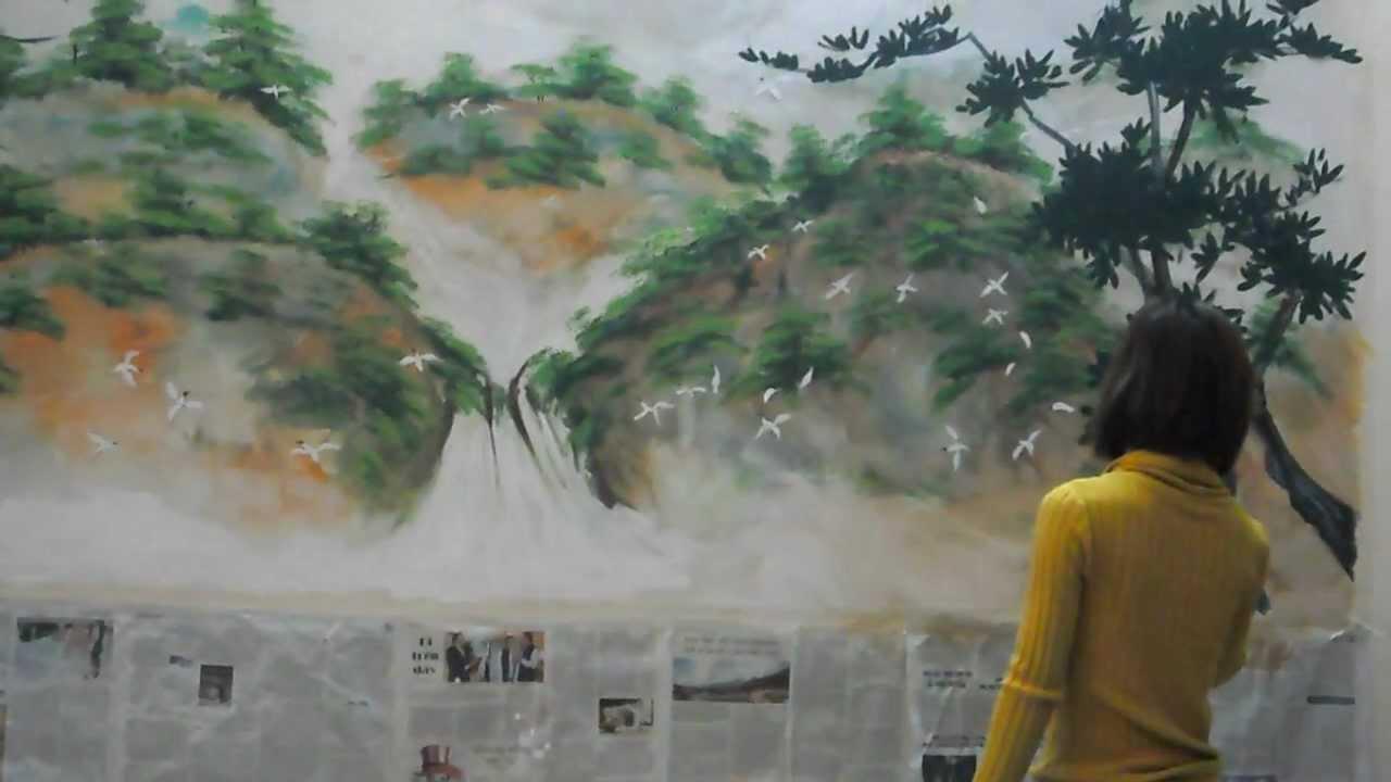 Tranh tường phòng khách nhà anh Tân Anh 204 Khương Thượng