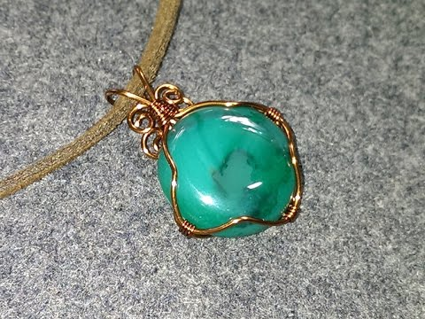 Wire wrap pendant with stone no holes - How to make wire jewelery 149