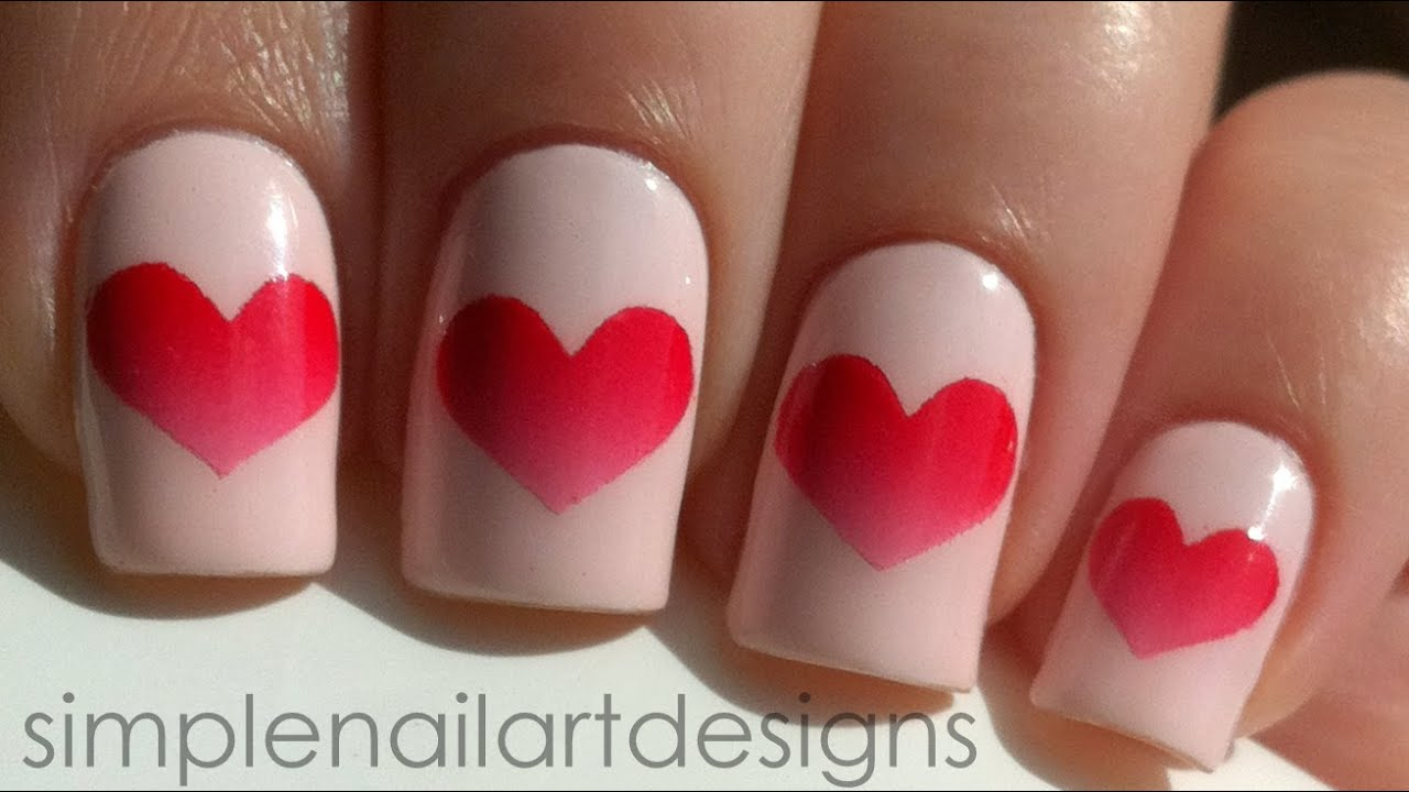 Valentines Day Heart Nail Art Tutorial Youtube