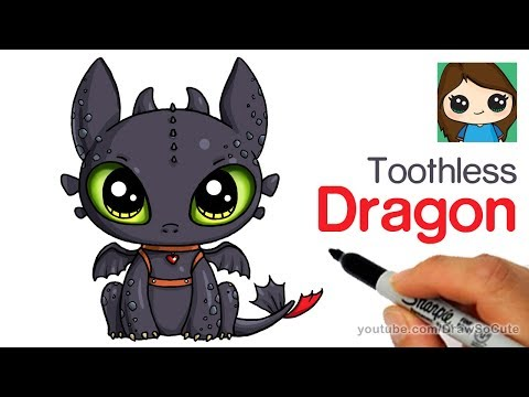 How To Draw A Cute Dragon Easy Toothless Youtube