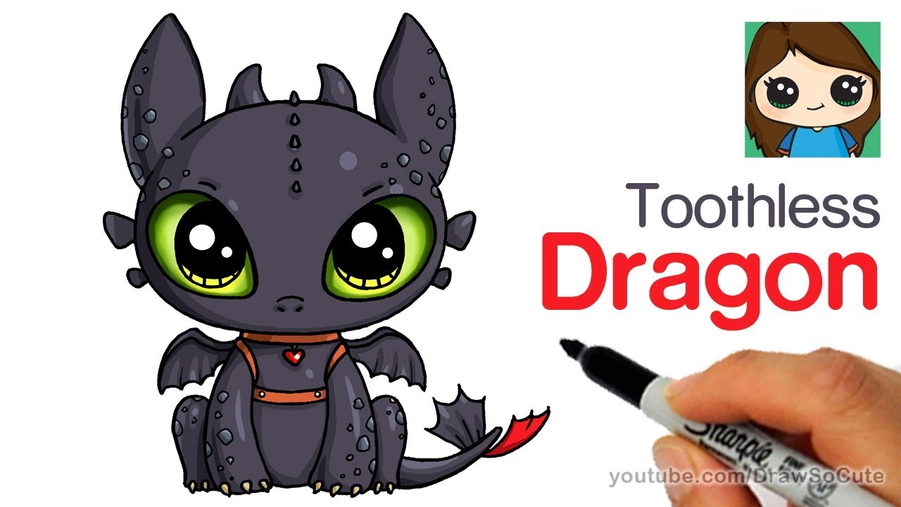 How to draw a cute dragon easy toothless