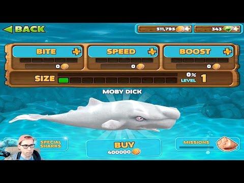 Прохождение Hungry Shark Evolution - MOBY DICK - МОБИ ДИК - 400.000 Монет и МОЙ