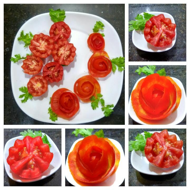 How To Make Tomato Rose Flower Garnish Simple And Easy Salad And Food Deecoration 112 Youtube