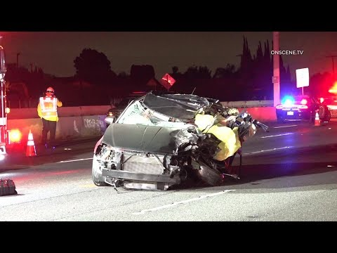 Driver Killed, Two Workers Injured After Freeway Crash In Huntington Beach