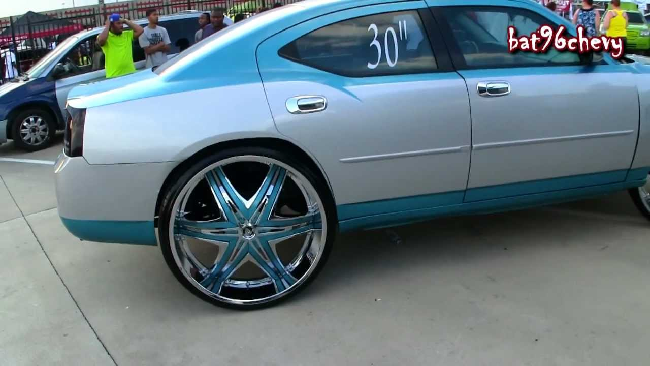 Charger On 30 Inch Rims : Silver blue dodge charger on quot diablo elites p hd