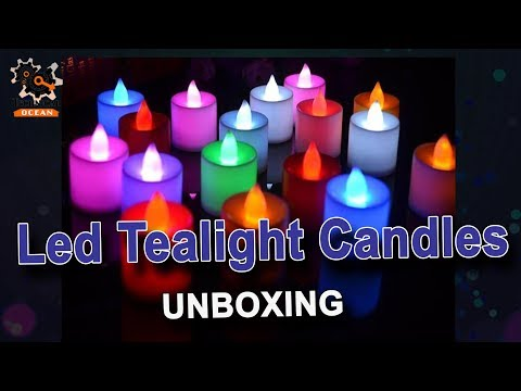 Multicoloured Battery Operated Led Tealight Candles Unboxing