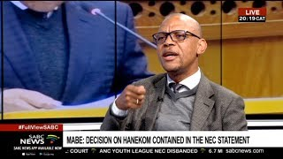 Outcomes of the ANC NEC meeting: Pule Mabe