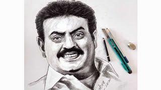 Actor Vijayakanth Drawing / Vijayakanth Portrait Art / Vijayakanth