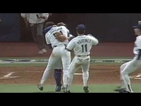 Randy Johnson throws first Mariners