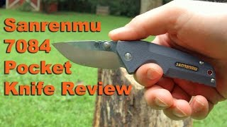 Sanrenmu 7084LUX pocket knife review (12c27).  Light, not too small, and $10!