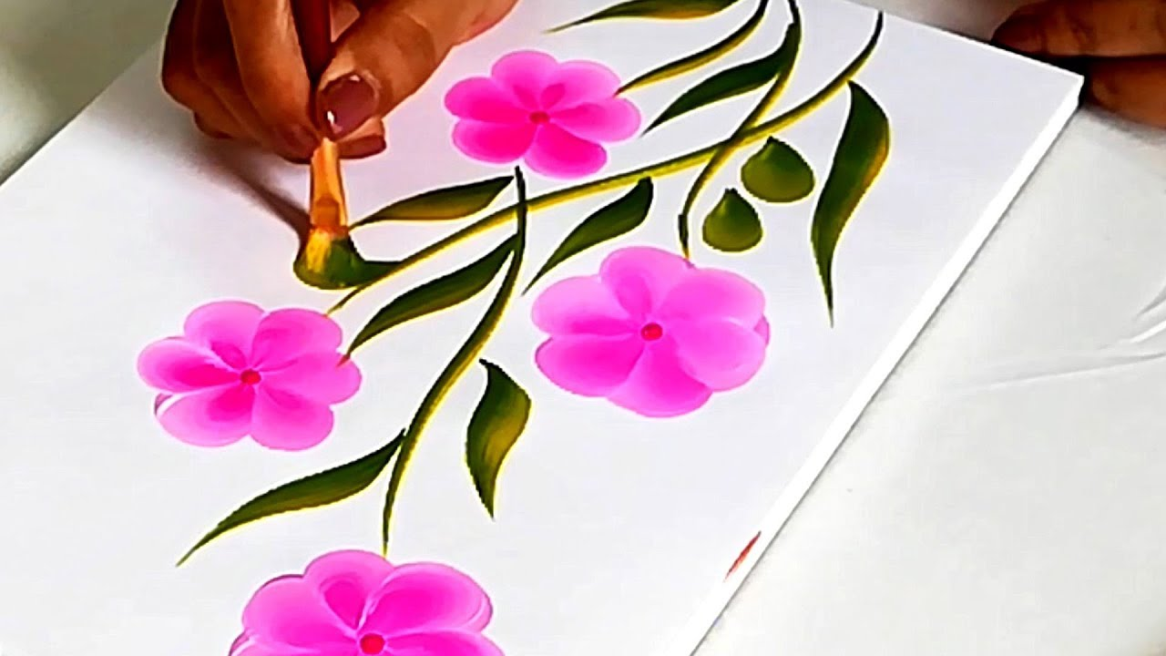 How To Make Easy One Stroke Flower Painting Materials Step By
