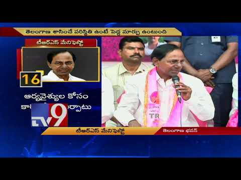 TRS Manifesto: KCR about government employees PRC - TV9
