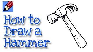 How to draw a claw hammer real easy - for kids and beginners