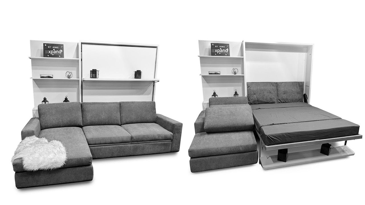 compatto floating wall bed with shelf over sectional sofa