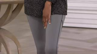 Lisa Rinna Collection Knit Pants with Faux Leather Piping Detail on QVC