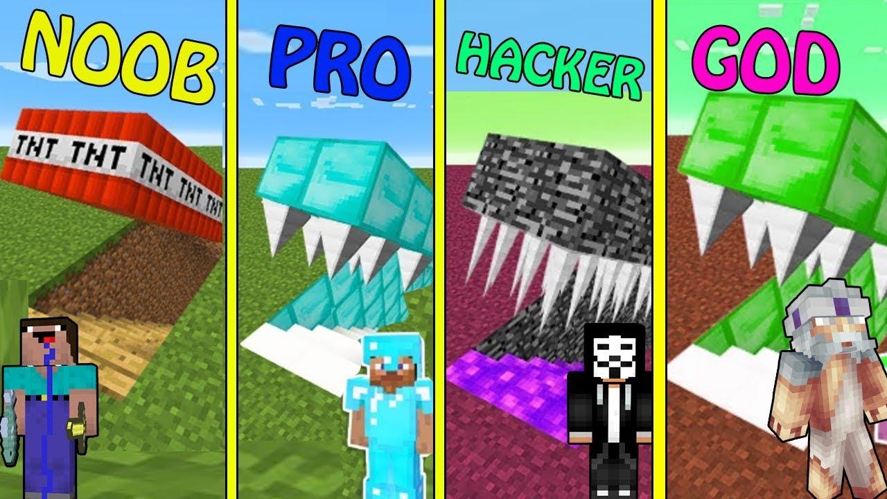Minecraft NOOB vs PRO vs HACKER vs GOD : BUILDING HIDDEN TRAP CHALLENGE in  minecraft / Animation