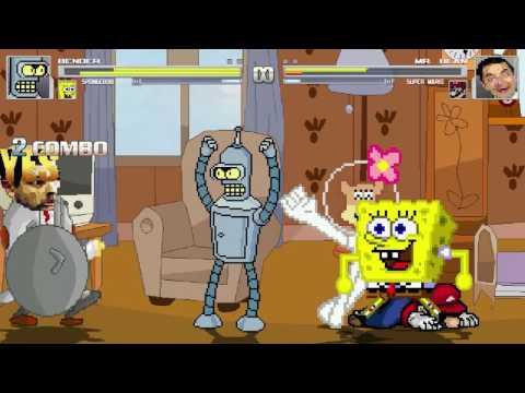 An Mugen Request 677 Bender Spongebob Vs Mr Bean Super Mario