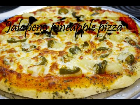 Jalapeno pineapple pizza with herb garlic butter