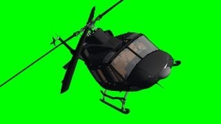 Helicopter Bell Fly By with Sound on green screen - free green screen 6