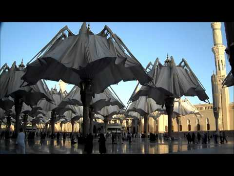 The Umbrellas closing of Masjid Al Nabawi In Medina Prophet's Mosque