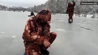 Рыбаки вышли на тонкий лед р. Кинешемки