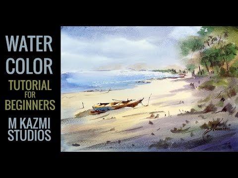 Watercolor Landscape Paitning tutorial in urdu hindi – watercolor tutorial for beginners