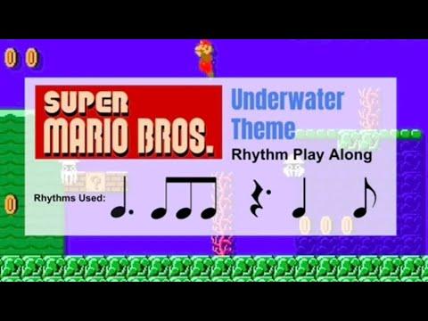 Super Mario Bros. - Underwater Theme - Rhythm Play Along - 6/8 rhythms