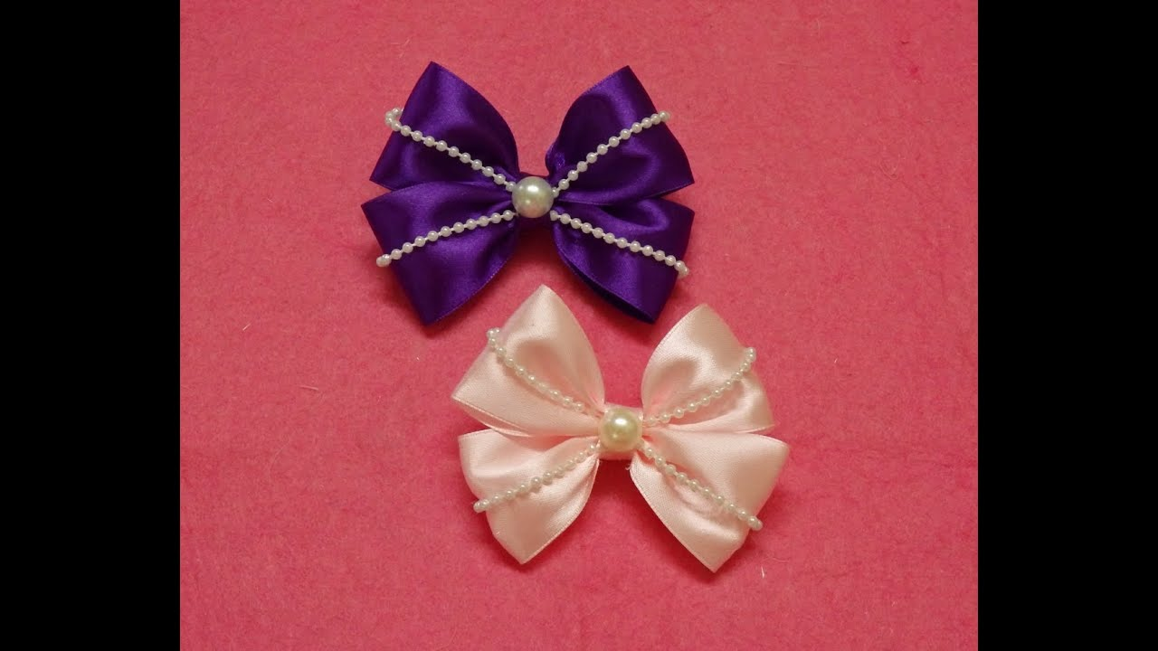 diy ribbon hair bows with pearls