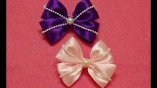 Diy Ribbon hair bows with pearls,hair bow tutorial,how to make