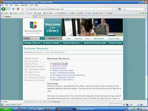Access Electronic Journals off Campus (like JStor) (NUI Maynooth)