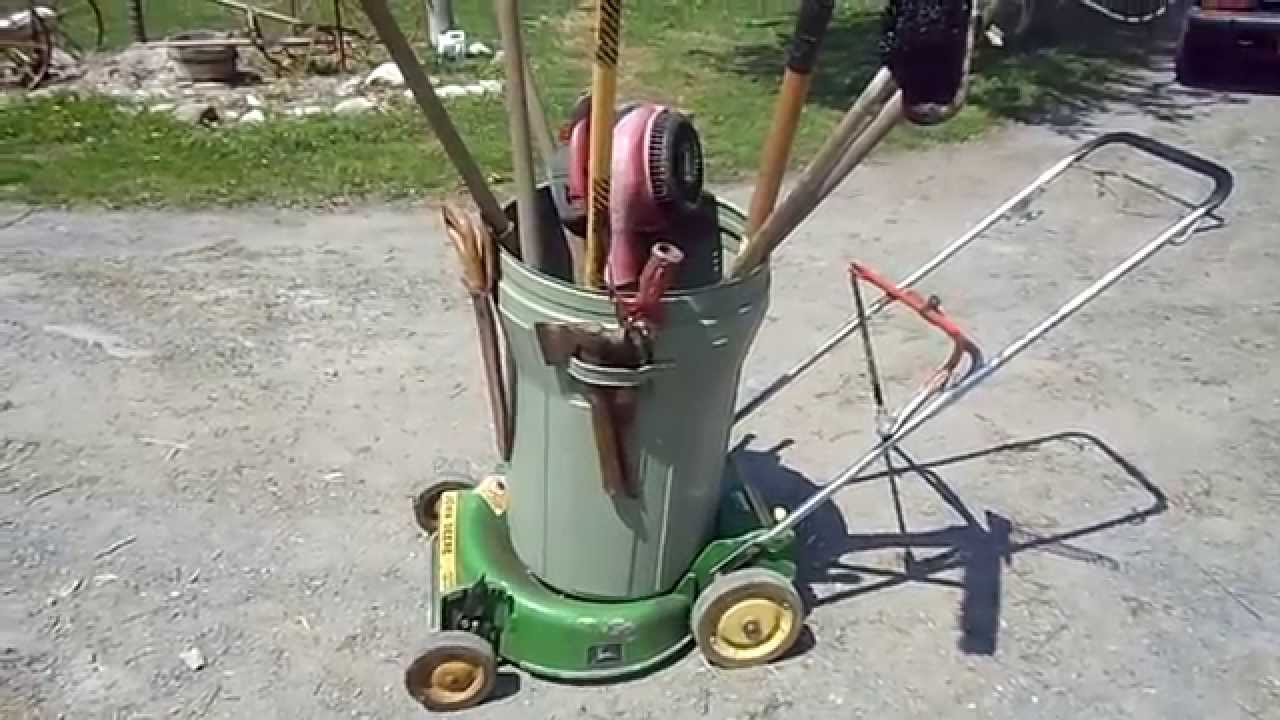 Push mower recycled into yard tool cart youtube for English garden tools yeah yeah yeah