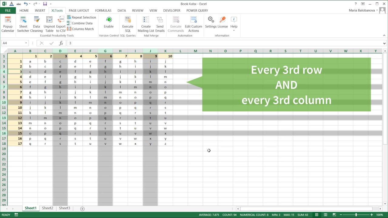 Easily select alternate rows, columns, or checkerboard pattern throughout  large Excel ranges