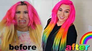 I DYED my Hair RAINBOW 🦄