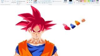 Desenhando Anime no Paint - Goku Super Saiyan God - Dragon Ball Super